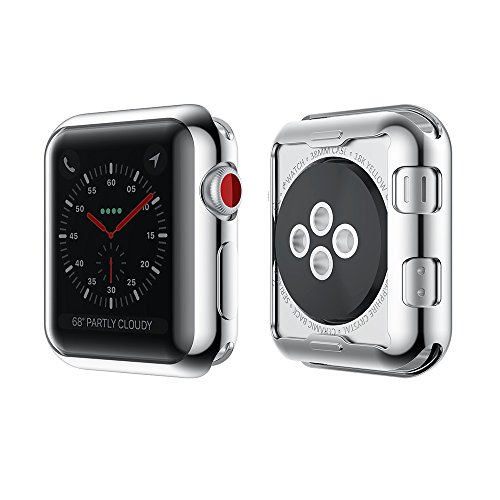 Smiling Apple Watch 3 Case Buit in TPU Screen Protector All-around Protective Case High Defination Clear Ultra-Thin Cover for Apple iwatch 38mm Series 3 and Series 2 (silver, 38mm)