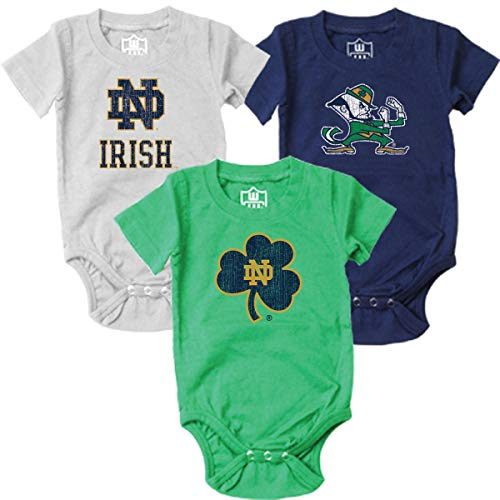 - Wes and Willy NCAA Baby 3 Pack Organic Cotton Bodysuits(12 Month, Notre Dame Fighting Irish)