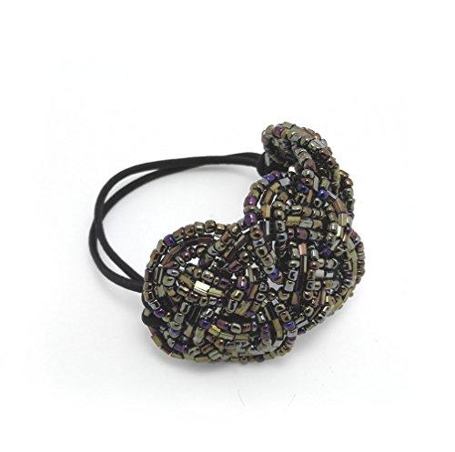 Meilliwish Crystal Beads Ponytail Holder Hair Tie (Khaki) (B10)