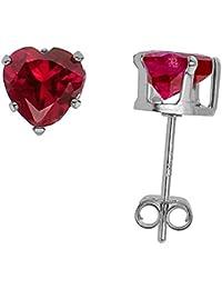 Sterling Silver 6 mm Color CZ Heart Studs Earrings Blue Topaz Sapphire Amethyst Ruby Pink