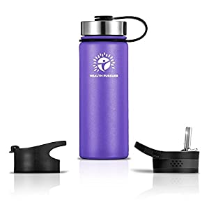 Stainless Steel Water Bottle/Thermos: ​22 Oz.​ Double Walled Vacuum Insulated Wide Mouth Travel Tumbler, Reusable BPA Free Twist Lid Bottles for Hot or Cold Liquid: Bonus Flip & Straw Lids - ​Purple