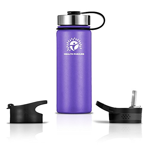 Stainless Steel Water Bottle/Thermos: ​22 Oz.​ Double Walled Vacuum Insulated Wide Mouth Travel Tumbler, Reusable BPA Free Twist Lid Bottles for Hot or Cold Liquid: Bonus Flip & Straw Lids (22 Oz Hydration Bottle)