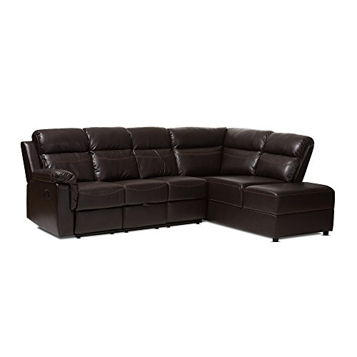 - Baxton Studio Fabienne Dark Brown Faux Leather 2 Piece Sectional with Recliner & Storage Chaise, Brown