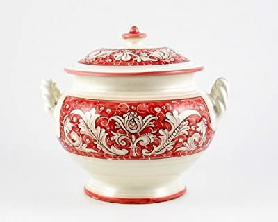 Hand Painted Italian Ceramic Soup Tureen Rinascimento Rosa e Bianco - Handmade in Deruta