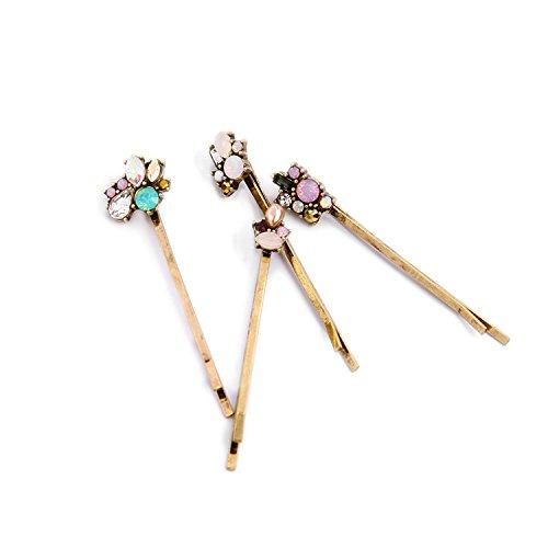 - 4 pieces hair pins/ Vintage hair bobby pins/Crystal hair pins/ copper hair pins/ hair barrette celestial hair accessory/ zircon accessories