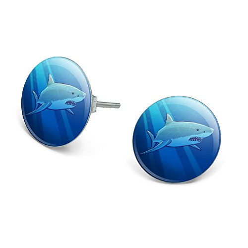 Graphics and More Great White Shark Realistic Novelty Silver Plated Stud Earrings