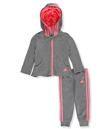 Adidas Baby Girls' 2-Piece French Terry Sweatsuit - dark gray, 18 months
