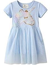 Eocom Little Girls Soft Summer Cotton Short Sleeve Dresses T-Shirt Casual Cartoon Dress Outfit 2-7 Years