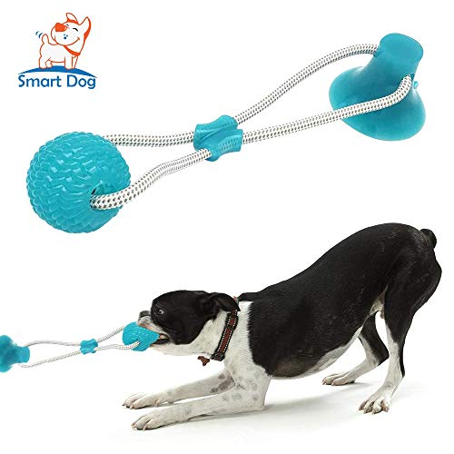 Smart Dog Suction Cup Dog Toy, Self-Playing Tug of War Dog Toy with Chew Rubber Ball, Dog Rope Toys for Aggressive Chewers, Interactive Pet Tug Toy for Boredom, Indestructible Bite Toy Teething(Green)