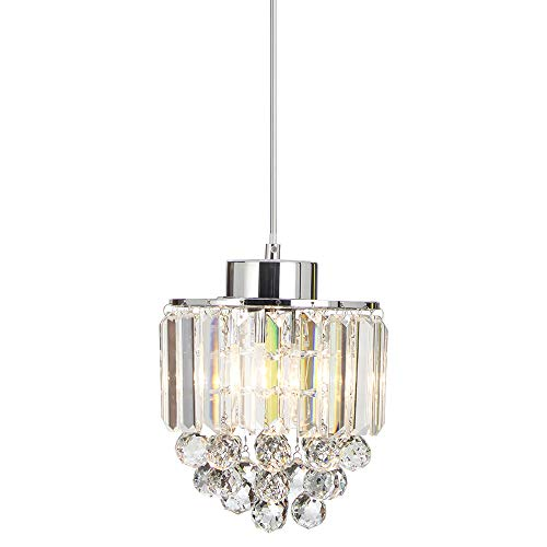 COTULIN Polished Pendant Light Decorative Pendant Lighting Fixture Cord Adjustable Crystal Chandelier Pendant Light, Ceiling Light for Living Room Dining Room Bar