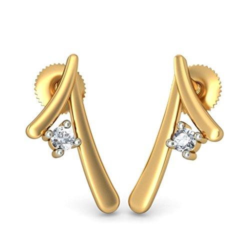 Or jaune 18K 0,07ct tw White-diamond (IJ | SI) Boucles d'oreille à tige