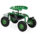 NANI Mobile Rolling Garden Work Stool Seat W/Wheels, Tool Tray and Basket | Garden Rolling Cart Scooter, 300lbs Capacity – Green