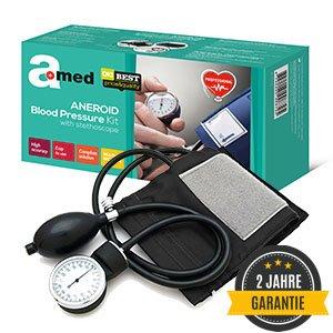 AMED Professional esfigmomanómetro Juego con estetoscopio, Pump Ball, manómetro, manguito