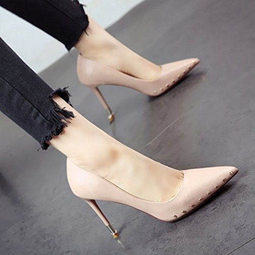 Flyrcx Rivetto Poco Donna Parti Con Tacco Fashion Elegante Sharp Singola Delle Profonde Calzatura Bocca Personalità Calzature Black Alto Scarpa Di wqPrAw