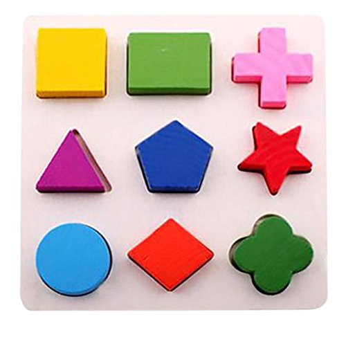 E-SCENERY Wooden Educational Preschool Shape Color Building Blocks Puzzle, Geometric Board Jigsaw Block Toddler toys for 1-6 year olds and Up Kid Children boys girls Baby (1#)