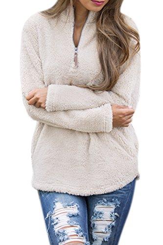 Tan Pullover Sweater (Spadehill Women's Sherpa Fleece Zipper Long Sleeves Pullover Tops With Pockets Light Khaki S)