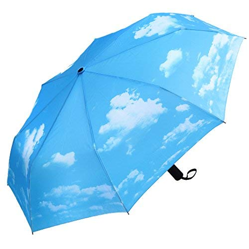 Plemo Folding Umbrellas With Anti-Slip Rubberized Grip, Automatic, Windproof and Compact Umbrellas, Blue Sky