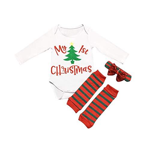 Newborn Baby My 1st Christmas Romper+Leg Warmers+Headband Kid Boy Girl Outfits 3pcs/Set (Color : 90)