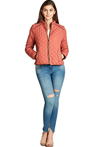 TOP LEGGING TL Women's Fab Classic Padded Quilted Lightweight Zip Up Jacket With Pockets 10_DUSTYPINK L