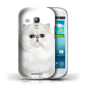 KOBALT? Protective Hard Back Phone Case / Cover for Samsung Galaxy S3 Mini | Persian White Design | Cat Breeds Collection