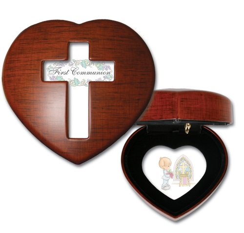 Precious Moments First Communion Boy Woodgrain Mini Heart Music Box / Jewelry Box Plays Jesus Loves Me