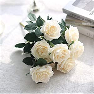 SIUONI 10 Fake Flower Artificial Bouquet French Rose Bouquet Ornaments Living Room Decoration Dining Table Floral Silk Flower Imitation(Milk White) 2