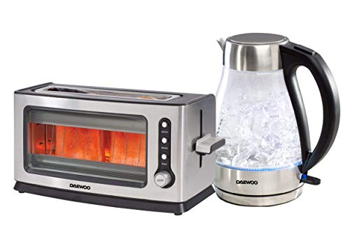 Daewoo Stainless Steel Glass Kettle and Toaster Twin Pack Set, 18/10