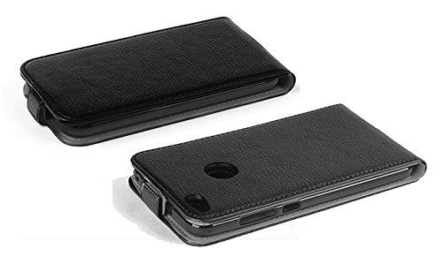 Cadorabo �?Funda Flip Style para >                                          Huawei ASCEND P8 LITE                                          < de Cuero Sintético �?Etui Case Cover Carcasa Caja Protección in NEGRO-ÓXIDO NEGRO-ÓXIDO