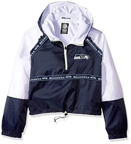 NFL Seattle Seahawks Women's Quarter Zip Hoodie Windbreaker Play Action Jacket, Small, Navy -