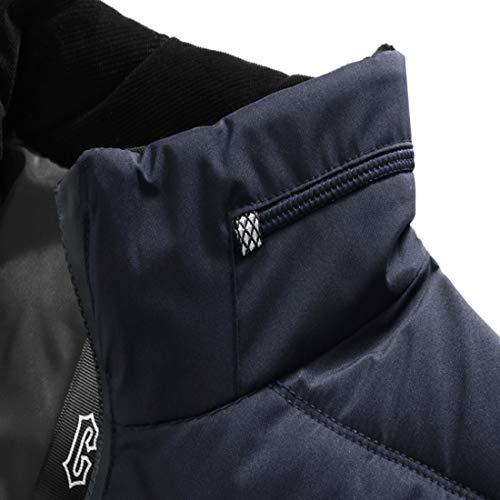 Scuro L'autunno Manica Giacca Inlefen D'inverno Blu Cappotto Zip Uomo Outwear Abiti Maschili Lunga E Caldo 4wwq6XI