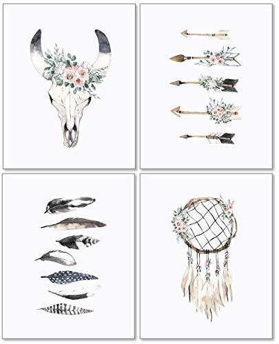 (Confetti Fox Boho Nursery Wall Decor Art - 8x10 Unframed Set of 4 Prints - Bohemian Woodland Chic Baby Girl Watercolor Artwork Gift Posters - Cow Skull Dreamcatcher Arrows Feathers)