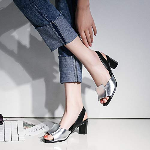 39f9e88cb26 DecoStain Women's Slingback Block Heel Peep Toe Sandals Classic Slip On  Dress Sandals Silver