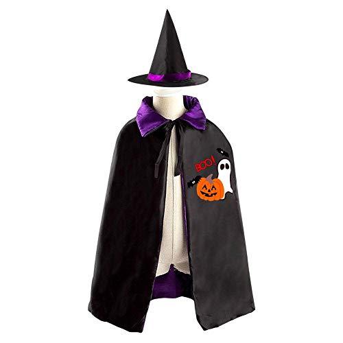 69PF-1 Halloween Cape Matching Witch Hat Ghost Bat Pumpkin Wizard Cloak Masquerade Cosplay Custume Robe Kids/Boy/Girl Gift Purple