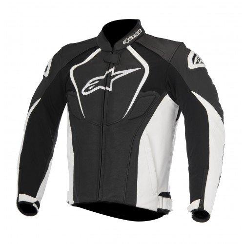 Alpinestars Men's Jaws Leather Jacket (Black/White, EU 56) (Best Leather Sportbike Jacket)