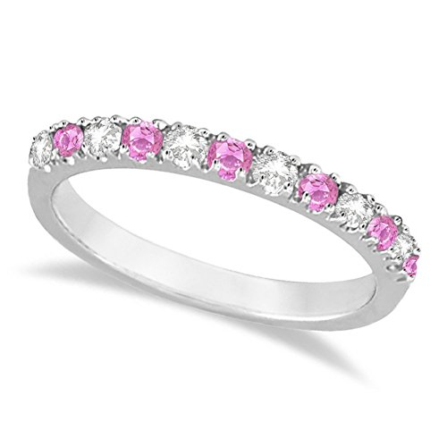 Diamond and Pink Sapphire Stackable Band Ring Guard For Women 14k White Gold (0.32ct)