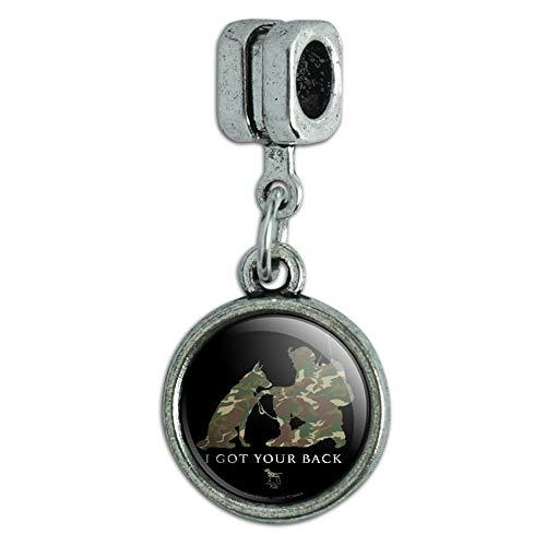 GRAPHICS & MORE I Got Your Back Soldier and German Shepherd Dog Camo Italian European Style Bracelet Charm Bead