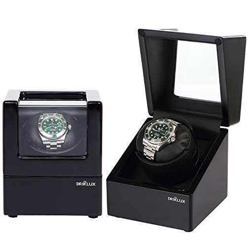 Driklux Automatic Single Watch Winder Case for Rolex with Quiet Motor,PremiumBlack Leather Exterior and Soft Flexible Watch Pillows(Black+Black Leather)