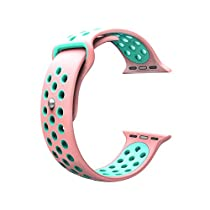 For Apple Watch Band, Wearlizer Soft Silicone Sport Replacement Strap for both Series 1 and Series 2 - 38mm Pink and Green
