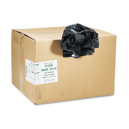 Webster : ReClaim Can Liners, 16 gallon, .65mil, 24 x 31, Black, 500/carton -:- Sold as 2 Packs of - 500 - / - Total of 1000 Each