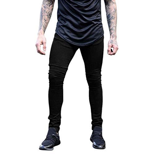 Uomo Nero Solid Fit Motociclista Color Da Ragazzi Skinny Stretch Aderenti Slim Classiche Pants Fashion Pantaloni Jeans Glich ExaPFqwIn