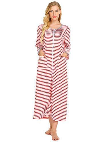 Ekouaer Women Long Robes Zipper Front Full Length House Coat with Pockets Striped Loungewear