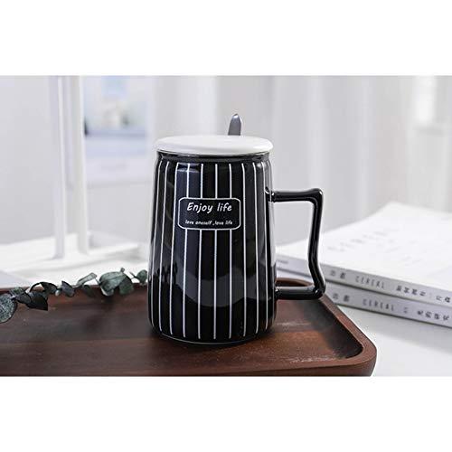 SHUIBEIHHY Simple Black and White Striped Ceramic Mug with lid Spoon Creative Mug Coffee Cup Drinkware Mugs Gift,Porcelain Mugs Tea Cu