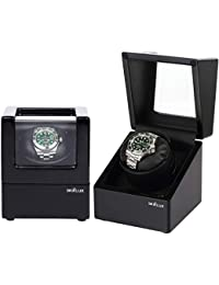 Automatic Single Watch Winder Case for Rolex with Quiet Motor,PremiumBlack Leather Exterior and Soft Flexible Watch Pillows(Black+Black Leather)
