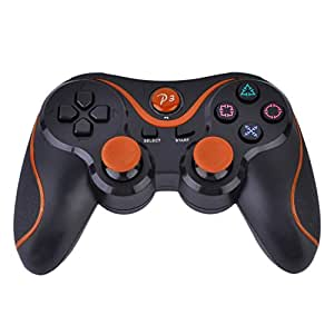 [2 Pack] SlickBlue Double Shock Wireless Bluetooth Game Pad Controller For Sony Playstation 3 (Black Orange) [PlayStation 3]