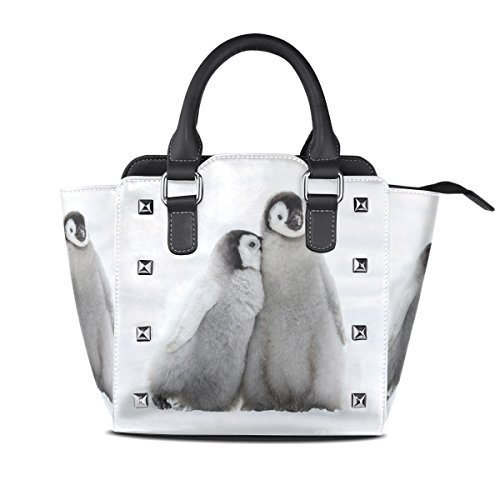 Snow Penguins Leather Handbags Purses Shoulder Tote Satchel Bags Womens