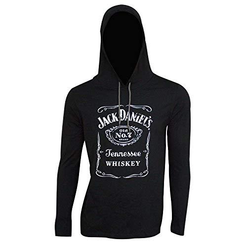 Jack Daniels Men's Daniel's Logo Graphic Hooded Long Sleeve T-Shirt Black -