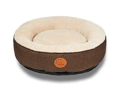 HACHIKITTY Dog Bed Washable Removable Cover Small Medium Round Cat Bed Waterproof Chew Resistant Raised Side Dog Bed