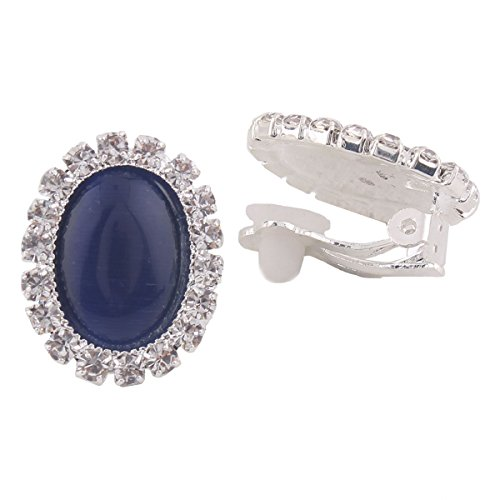 Bridal Rhinestone Opal Oval Shape Clip on Earrings for Women Charm Jewelry No Hole Ear Clip (navy blue)