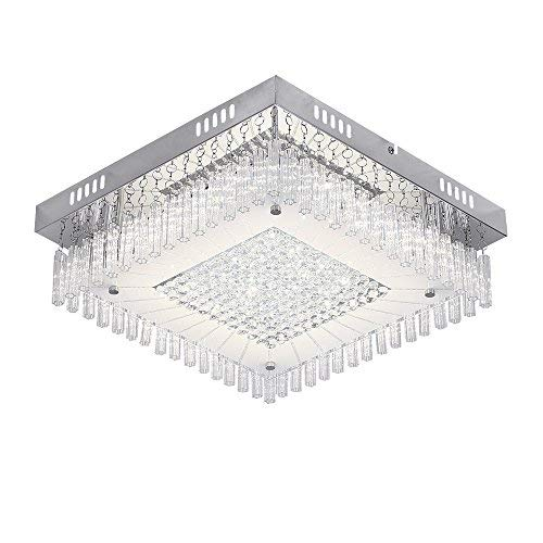 AUDIAN Flush Mount Ceiling Light Ceiling Lamp Dimmable LED Modern Square Shade K9 Crystal Bead Ceiling Flush Mount Polished Chrome Light for Porch Bedroom Children's Room Bathroom 14.2 Inch