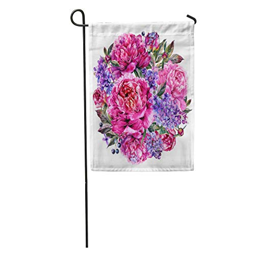(Semtomn Garden Flag Watercolor Round Bouquet Made of Blooming Fuchsia Peonies and Lilac Home Yard House Decor Barnner Outdoor Stand 12x18 Inches Flag)